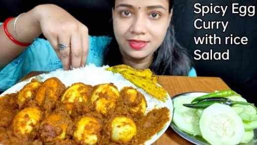 EATING SPICY🔥EGG CURRY(Anda curry) WITH RICE, SALAD AND PUMPKIN FLOWER CHILLA|FOOD EATING VIDEOS
