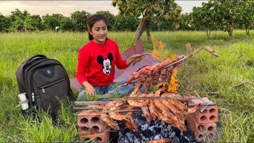 Eat Grilled Tiger Shrimps In Fresh Nature / Relaxation Place In My Village / Eat With Sreypov