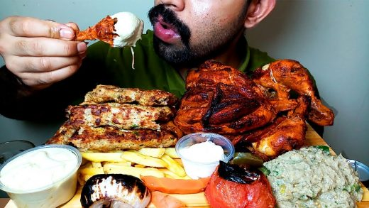 FULL GRILLED CHICKEN || KEBAB || GRILLED FOOD EATING VIDEO|#HungryPiran