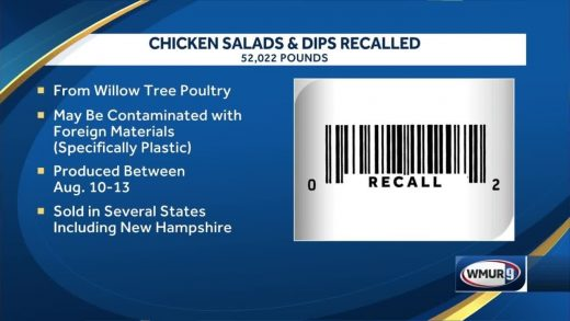 Food recall issued for chicken salad sold in New Hampshire