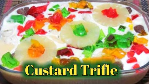 Fruit Custard Trifle Recipe | Quick and Easy Homemade Dessert by Cooking on