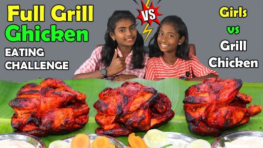 Full Grill Chicken 🔥 Girls  Eating Challenge Tamil | Foodie Girls Go