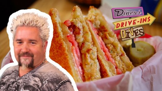 Guy Fieri Tries CRAB CAKE Grilled Cheese | Diners, Drive-ins and Dives with Guy Fieri | Food Network