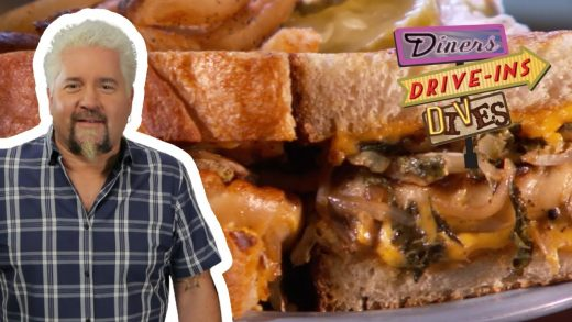 Guy Fieri Tries a PIEROGI-Stuffed Grilled CHEESE   Diners, Drive-Ins and Dives   Food Network
