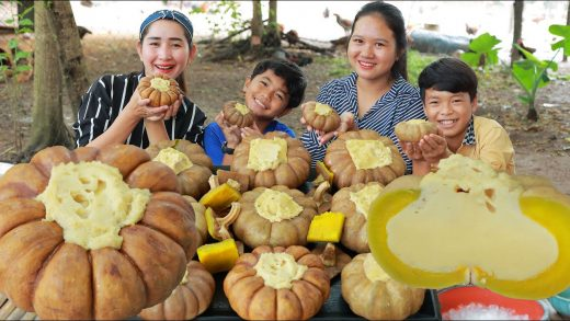 Happy Time - Cook Pumpkin Custard Dessert - Yummy Pumpkin Custard Eating With Brothers And Sister