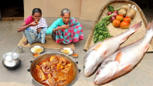 How tribe grand mothers cooking  SEA FISH masala curry for eating with hot rice||rural village life