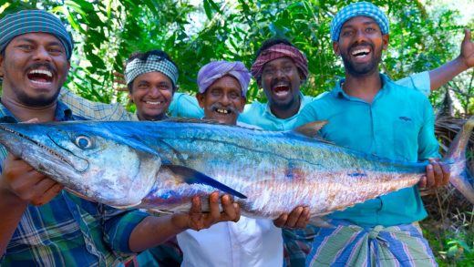 KING FISH GRILL | Spanish Mackerel Fish Grill with Banana Leaf | Fish Fry Recipe Cooking In Village