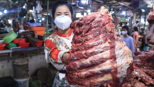 Market show, buy cow ribs from the market for cooking / Yummy grilled cow ribs recipe