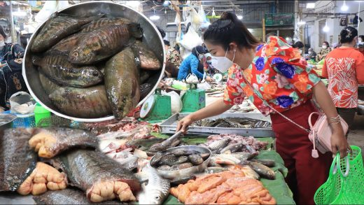 Market show, buy river fish from the market for cooking / Fry fish dip in tamarind fish sauce