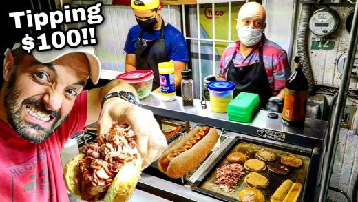 Massive HOT DOGS & BURGERS - Mexican Street Food - Tipping $100 Dollars With Money From SUBSCRIBERS!