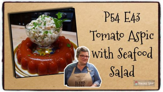 P54 E43 Tomato Aspic with Seafood Salad   Outtakes   Vintage Suppers   Retro Food