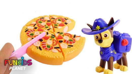 Paw Patrol Chase & Skye Cowboys Have Party Eat Pizza and Fruit