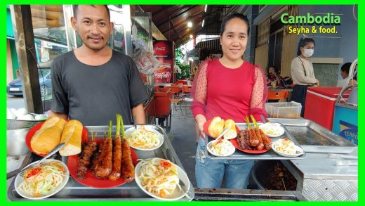 Phnom Penh Street Food! Grilled Beef Recipe With Lemongrass! You Can Try It With Green Papaya Pickle