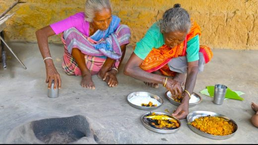 Soya Chunk recipe | How tribe grandmothers cooking soya chunk fry in banana leaves | village cooking