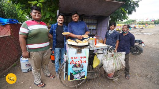 Two Brothers Selling Hot Dog On his Cycle Rs. 50/- Only l Rajkot Street Food