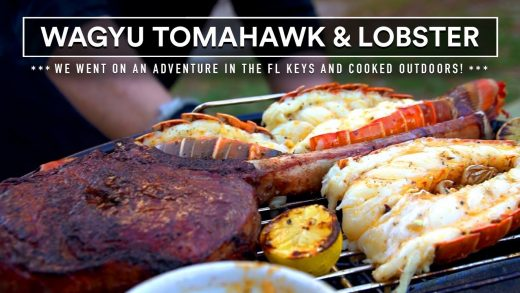 WAGYU TOMAHAWK steak and GRILLED LOBSTER TAILS - SURF n TURF in the FL Keys!