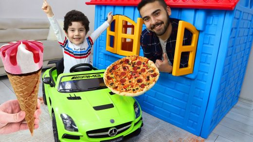 Yusuf took a pizza and ice cream with a cordless car