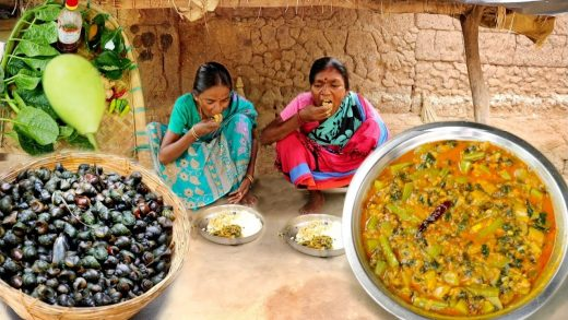 finding INDIAN SMALL SNAIL and cooking with fresh vegetables by our santali grandma   rural village