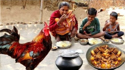 village people daily routine||santali women cooking red country CHICKEN CURRY for her children's