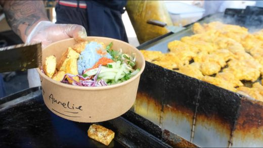 Street Food from Malaysia in London. Grilled Curry Meats, Tofu, Skewers, Marinated Eggs and More