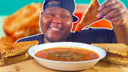 WEIGHT LOSS TALK | GRILLED CHEESE SANDWICH & TOMATO BISQUE SOUP MUKBANG