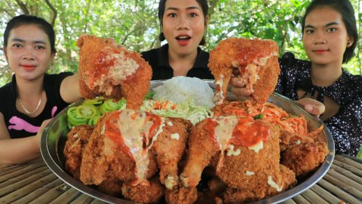 Yummy cooking chicken leg crispy with vegetable salad recipe - Amazing cooking