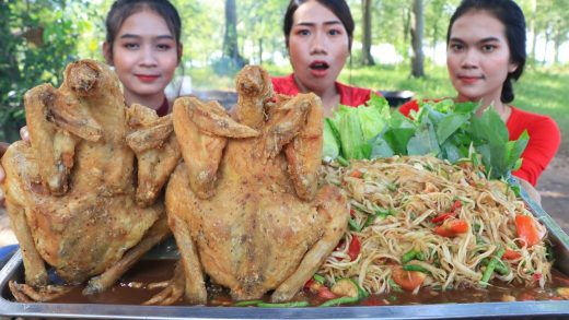 Cooking chicken crispy with papaya salad recipe - Cooking and eating