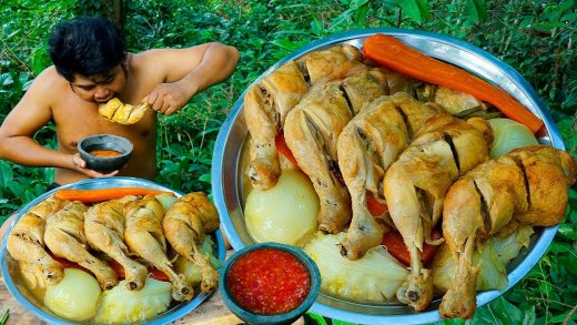 Roasted Chicken Legs BBQ Eating Challenge with Spicy Chili Sauce - Cooking Chicken BBQ Cabbage